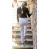 Kép 3/3 - IRIDE farmer hatású elasztikus slim női munkaruha nadrág  - fehér