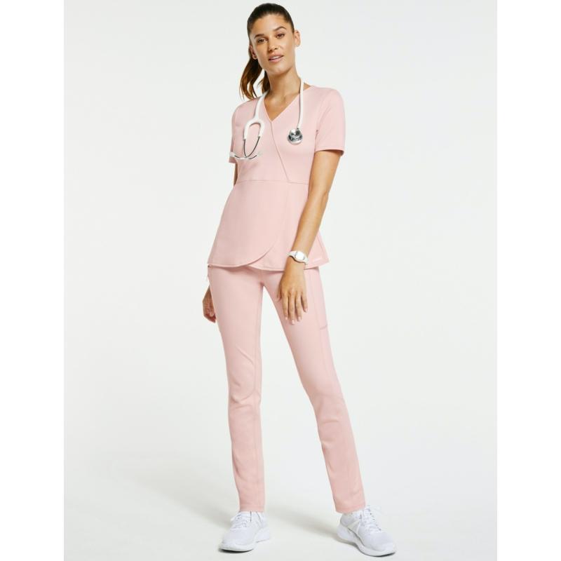 DAISY magas derekú yoga ihletésű női munkaruha nadrág  - pír rózsaszín