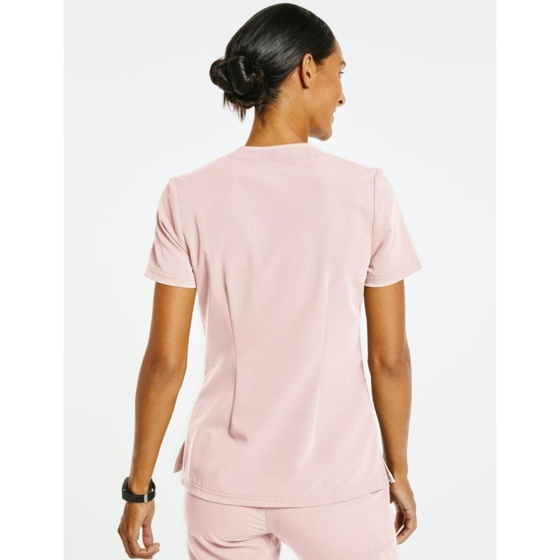 HUDSON laza szabású 3 zsebes átszellőző munkaruha tunika - pír rózsaszín