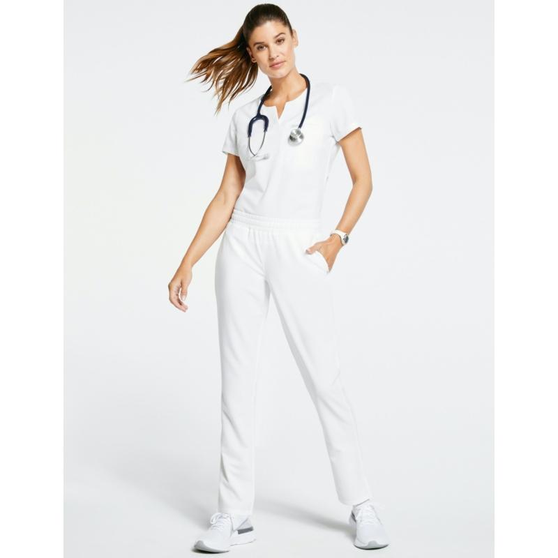 JOLIE 5 zsebes egyenes szárú sztreccs orvosi nadrág - fehér