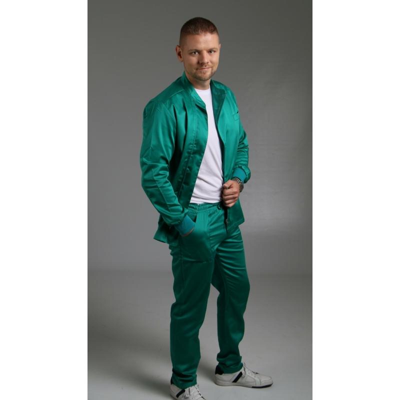 RUGGERO prémium szaténpamut férfi hosszú ujjú zippzáras egészségügyi felső öltözet - zöld