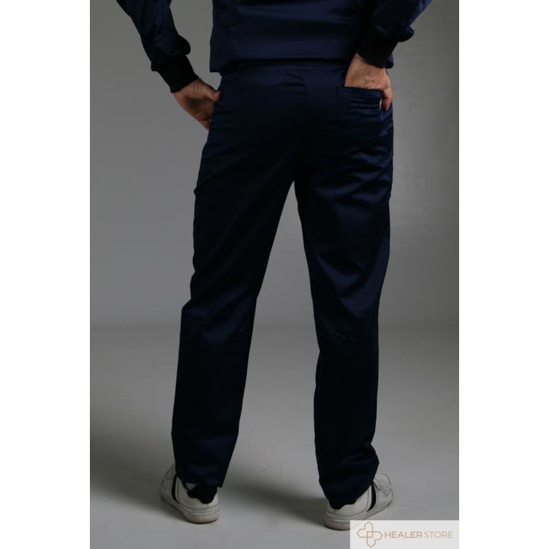 ALAN sötétkék szaténpamut férfi munkaruha nadrág