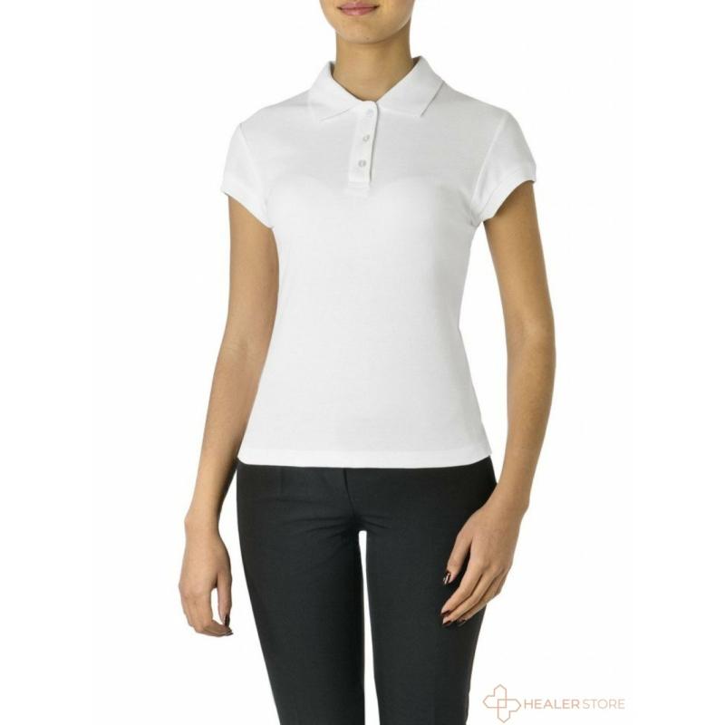 Galléros női pamut póló - fehér - XL