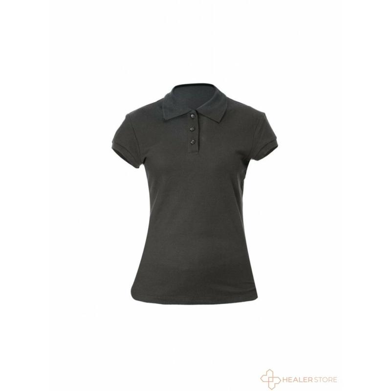 Galléros női pamut póló - fekete
