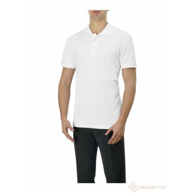 Galléros pamut férfi póló - fehér