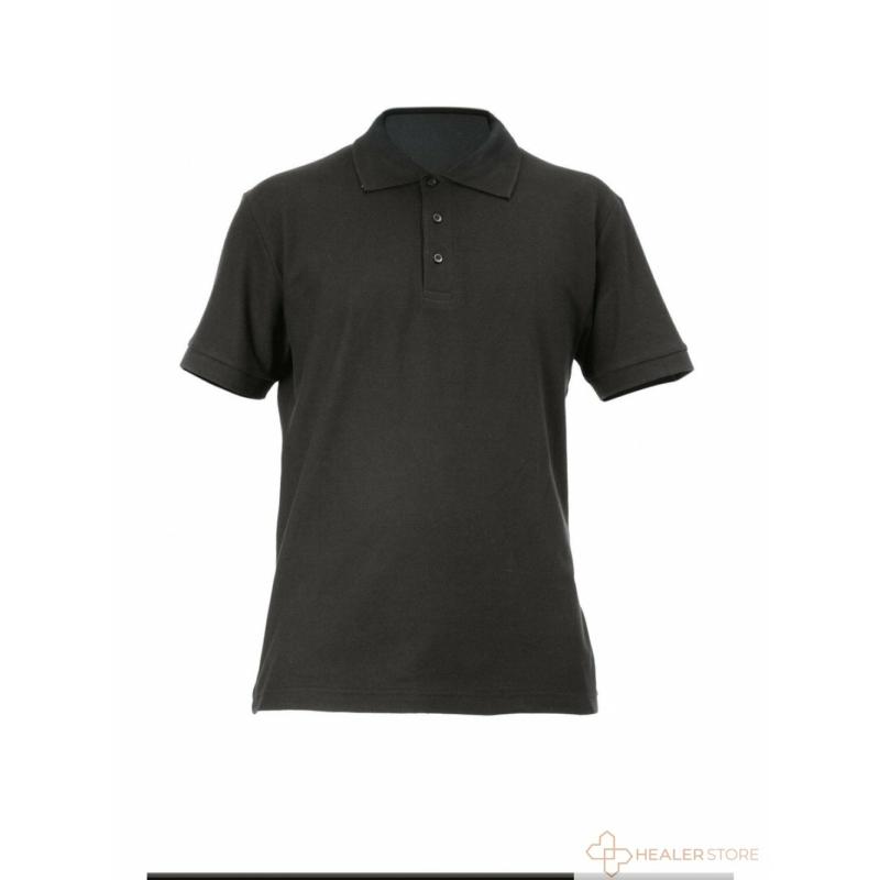 Galléros pamut férfi póló - fekete