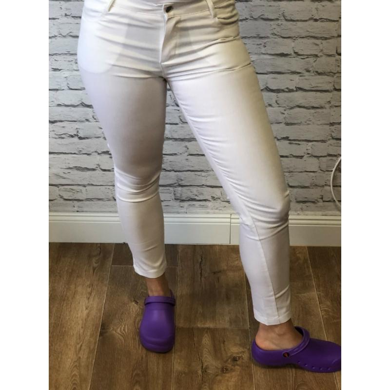 IRIDE farmer hatású elasztikus slim női munkaruha nadrág  - fehér