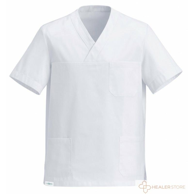 leonardo-feher-uniszex-v-kivagasu-orvosi-mutos-felso-healerstore.jpg