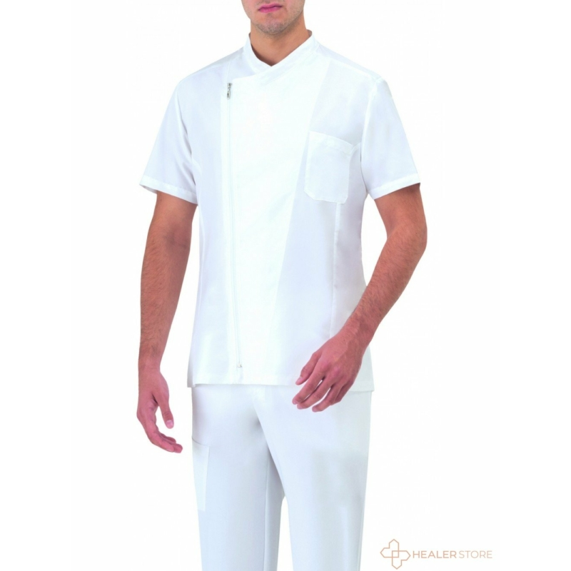 MAURIZIO lélegző anyagú férfi orvosi ing - fehér
